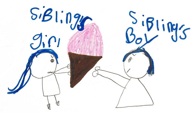 girl and boy both grab same ice cream cone